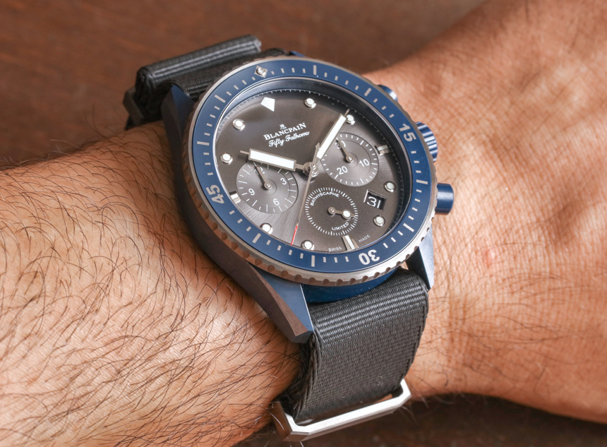 Blancpain Fifty Fathoms Bathyscaphe Flyback Chronograph Ocean Commitment на руке