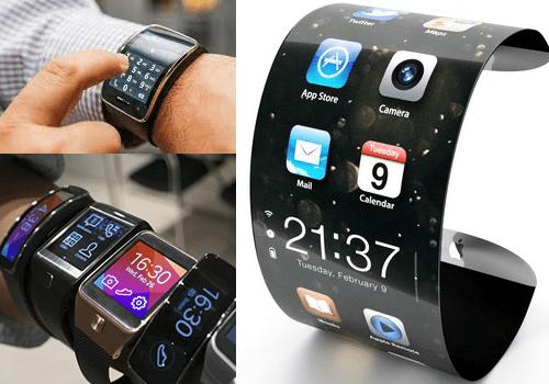 samsung-galaxy гнутые часы на руке
